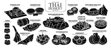 Set of isolated silhouette Thai dessert in 14 menu. Cute hand drawn food vector illustration in white outline and black plane. Stock Image