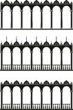 Set of isolated silhouettes of gallery. Illustration of architectural element - Silhouettes of gallery: black, vector isolated, white background Royalty Free Stock Photography