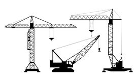 Set of isolated silhouettes of hoisting cranes on white background. Collection of lifting cranes. vector illustration