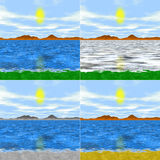Set of 4 isolated simple generated landscapes Royalty Free Stock Photos