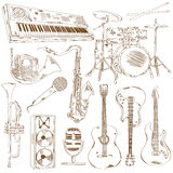 Set of isolated sketch musical instruments Royalty Free Stock Photos