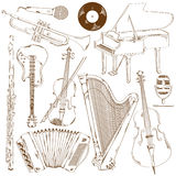 Set of isolated sketch musical instruments Stock Image