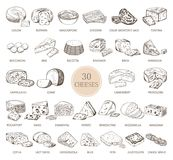 Set of isolated sketches of cheese types. Sketches of cheese types. Gouda and burrata, cheddar and radamer, ricotta and roquefort, mozzarella and maasdam, feta Stock Photos