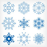 Set of isolated snowflakes for Christmas decor Stock Photos