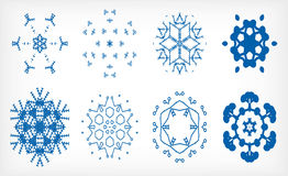 Set of isolated snowflakes for Christmas decor Stock Images