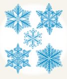 Set of isolated snowflakes. Stock Images