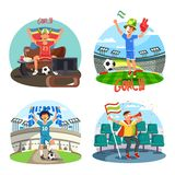 Soccer or football fans celebrating and cheering stock illustration
