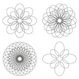 Set of 4 isolated spirograph flower ornaments. Black line elements Royalty Free Stock Photography