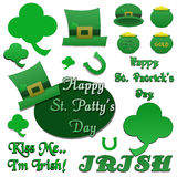 Set of Isolated St Patrick's Day Clip-Art. Set of St Patrick's Day isolated green clip-art and phrases Royalty Free Stock Photography