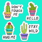 Set of isolated stickers with cactus Royalty Free Stock Photo