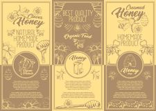 Set of isolated stickers, labels for clover honey stock illustration