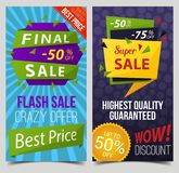 Set of isolated signs or tags for sail or retail. Set of isolated stickers with price discount, labels with guaranteed quality, tags backdrops for retail or Royalty Free Stock Image