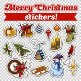 Stickers for 2018 new year card or christmas eve. Set of isolated stickers on transparent for glue on 2018 new year and xmas celebration or greetings card. Candy Royalty Free Stock Photos