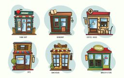 Set of isolated stores and shops, cafe, grocery. Set of isolated shops or stores with showcases. Outdoor view on farm and grocery market with fruits and royalty free illustration