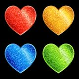 Set of Isolated Stylized Glittering Hearts of Different Colors. Decorative Design Elements Blue, Green, Red, Yellow Hearts for Universal Application Royalty Free Illustration