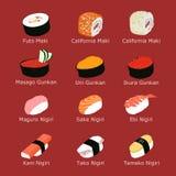 Set of isolated sushi Royalty Free Stock Image