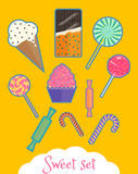 Set of isolated sweet food. Icons of ice-cream, candies and sweets, chocolate bar, lollipops and canes Stock Images