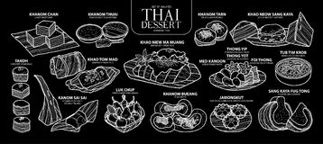 Set of isolated Thai dessert in 14 menu. Cute hand drawn food vector illustration in white outline. Stock Photos