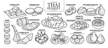 Set of isolated Thai dessert in 14 menu.   Royalty Free Stock Photos