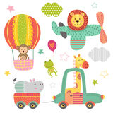 Set of isolated transport with baby jungle animals Royalty Free Stock Photo