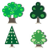 Set of isolated trees Royalty Free Stock Photos