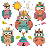 Set of isolated tribal owls Royalty Free Stock Photo