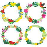 Set of isolated tropical wreaths Royalty Free Stock Photo
