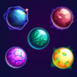 Set of isolated universe planets or cosmos stars Royalty Free Stock Image
