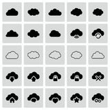 Set of isolated vector cloud icons. Set of isolated modern vector cloud icons Stock Image