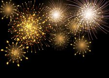 Set of isolated vector fireworks on a transparent background royalty free illustration