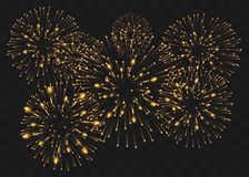 Set of isolated vector fireworks on a transparent background stock illustration