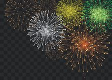 Set of isolated vector fireworks on a transparent background royalty free stock photos