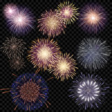 Set of isolated vector fireworks on a transparent background. A set of isolated vector fireworks on a transparent background Royalty Free Stock Photo