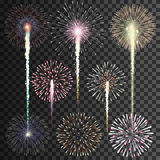 Set of isolated vector fireworks on transparent background. Illustration Stock Image