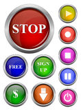 Set of isolated vector, glossy web button. Beautiful internet button. Royalty Free Stock Photos
