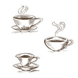 Set of isolated vector illustration of coffee cups on a white ba. Ckground , contour silhouettes of tea cups vector illustration