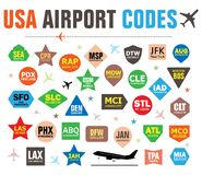Set of Isolated Vector Tags with USA Airport Codes royalty free illustration