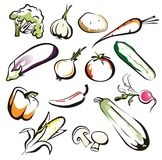 Set of isolated vegetables icons Royalty Free Stock Photos