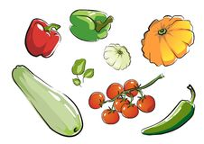 Set of isolated vegetables part 1. royalty free illustration