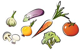 Set of isolated vegetables part 2. royalty free illustration