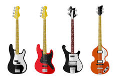 Set of isolated vintage guitars Royalty Free Stock Images
