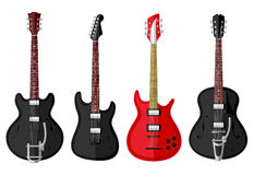 Set of isolated vintage guitars Stock Photos
