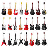 Set of isolated vintage guitars. Flat design Royalty Free Stock Images