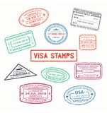 Set of isolated visa passport rubber stamps Royalty Free Stock Photos