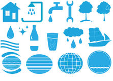 Set of isolated water objects Stock Images