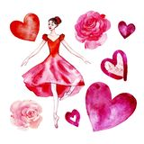 Set of isolated watercolor ballerina in a red scarlet dress, roses, hearts. royalty free illustration