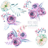 Set with isolated watercolor floral bouquets from purple roses and leaves Stock Image