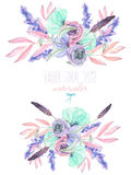 Set with isolated watercolor floral bouquets from tender flowers and leaves in pink. Mint and purple pastel shades, hand drawn on a white background Stock Photos