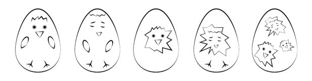 Set of isolated on white background flat icons of Easter eggs with chickens vector illustration