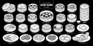 Set of isolated white silhouette Chinese food, Dim Sum in 22 menu. Cute hand drawn food vector illustration in white plane and no. Outline on black background Stock Photography